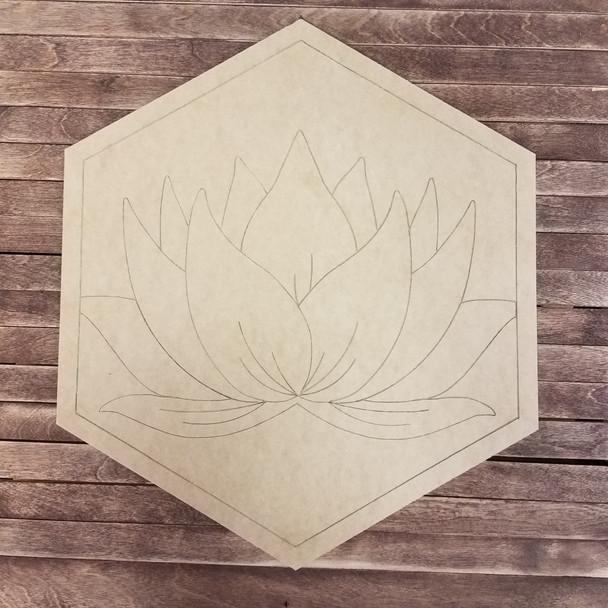 Hexagon Lotus Blossom Shape, Boho Style Paint By Line