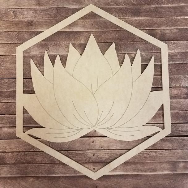 Hexagon Lotus Blossom Cut Out Shape, Boho Style Paint By Line