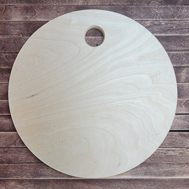 Pine Charcuterie Bread Board Circle Cutout , Unfinished Wood Craft Shape