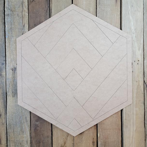 Mountain Art Hexagon, Boho Style Paint by Line Unfinished Wood Shape
