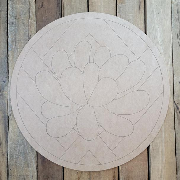 Floral Leaf Art Circle, Boho Style Paint by Line Unfinished Wood Shape