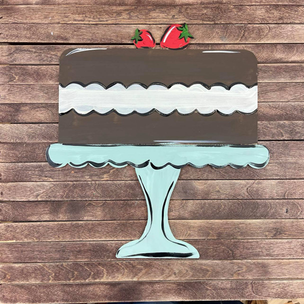 Chantilly Cake On Plater, Paint by Line Unfinished Wood Shape