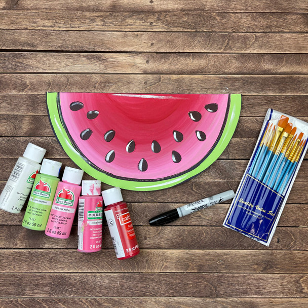 Watermelon Paint Kit, DIY Wood Cutout, Video Tutorial and Instructions