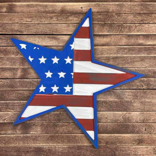 Layered American Flag Patriotic Décor 3 Piece Set, Unfinished Art