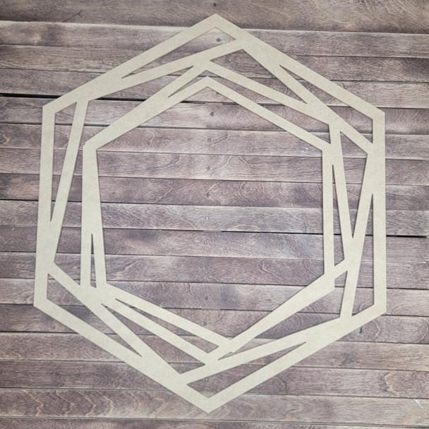 Succulent Hexagon Shape Boho Style, Unfinished Wood Cutout