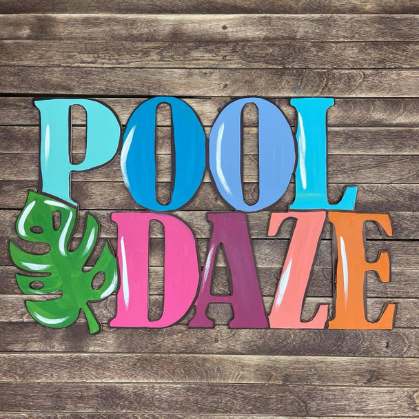 Pool Daze, Unfinished Wooden Connected Word, Alphabet Paintable DIY