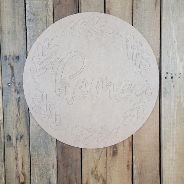 Home Floral Circle, Wood Cutout, Shape, Paint by Line