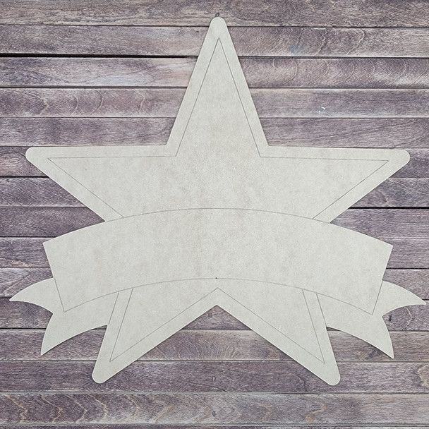 Star With Banner, Back to School Paint by Line, Wood Craft Cutout