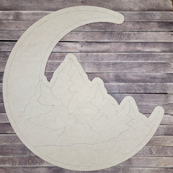 Crescent Moon With Mountains, Paint by Line, Wood Craft Cutout