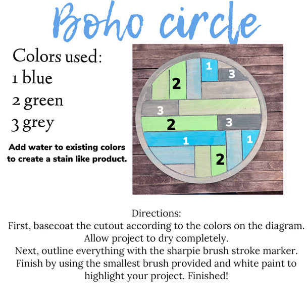Boho Geometric Wall Art Circle Paint Kit
