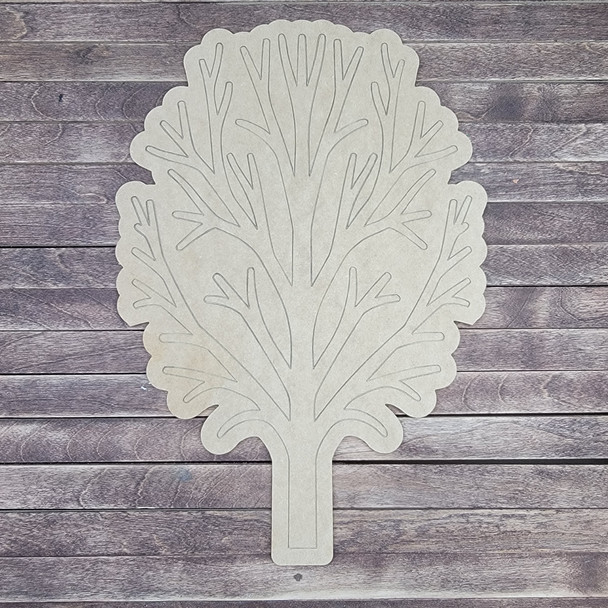 Bushy Tree With Leaves, Wooden Shape Unfinished Cutout, Paint By Line