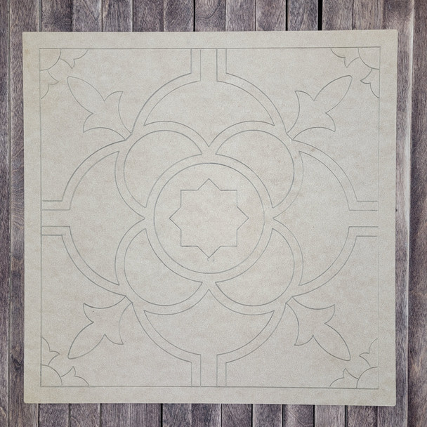 Ceramic Tile Square Design Boho Style, Paint by Line, Wood Craft