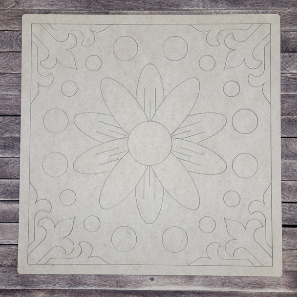 Spanish Flower Design Square Boho Style, Paint by Line, Wood Craft