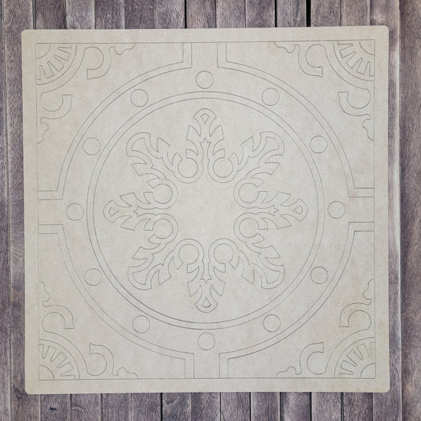 Mosaic Art Square Snowflake Pattern, Unfinished Wooden Cutout Craft Design WS