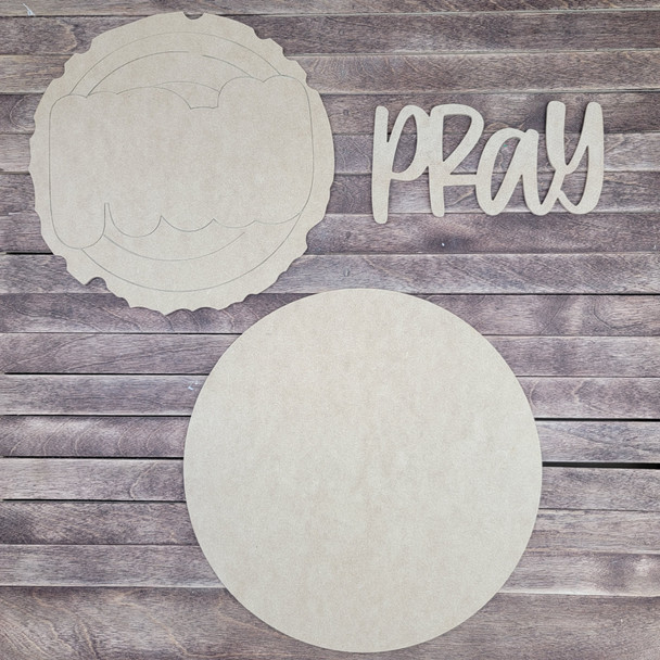 "14"" Pray Wood Slice Stacked Décor Kit, Unfinished 3 Piece Set"
