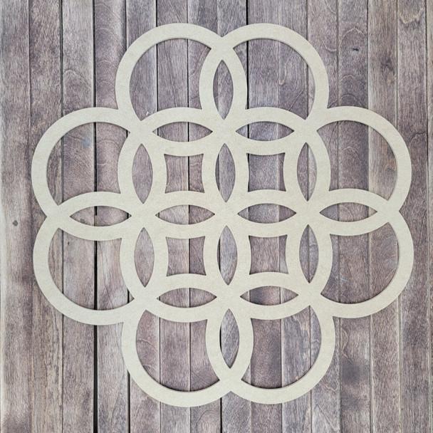 Overlaid Circle Décor Boho Art, Wood Craft Cutout