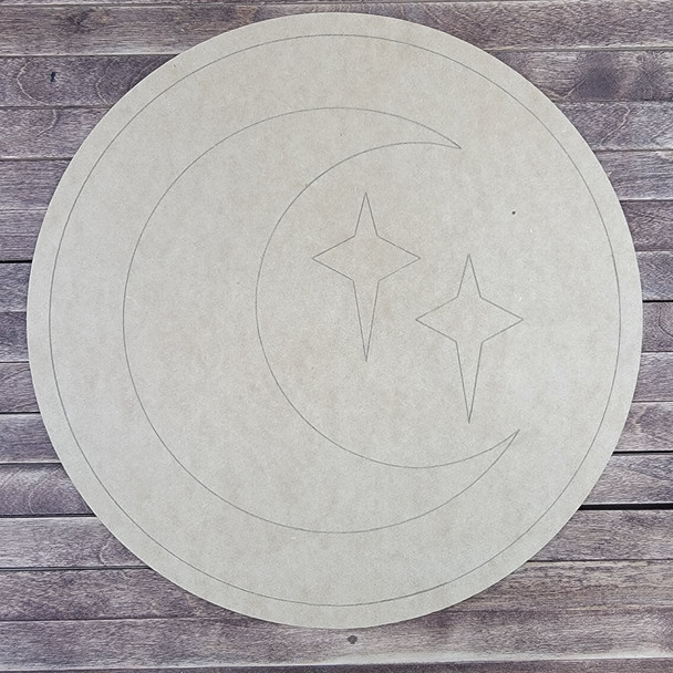 Moon With Stars Circle, Paint by Line, Wood Craft Cutout