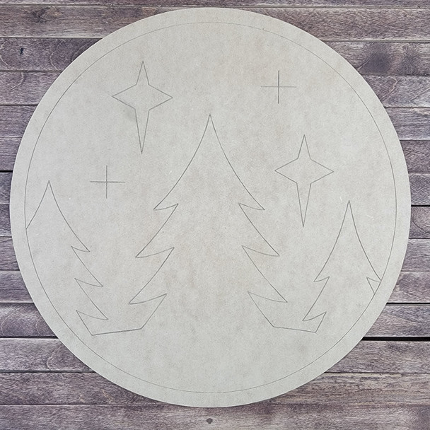 Winter Night Circle Design, Paint by Line, Wood Craft Cutout