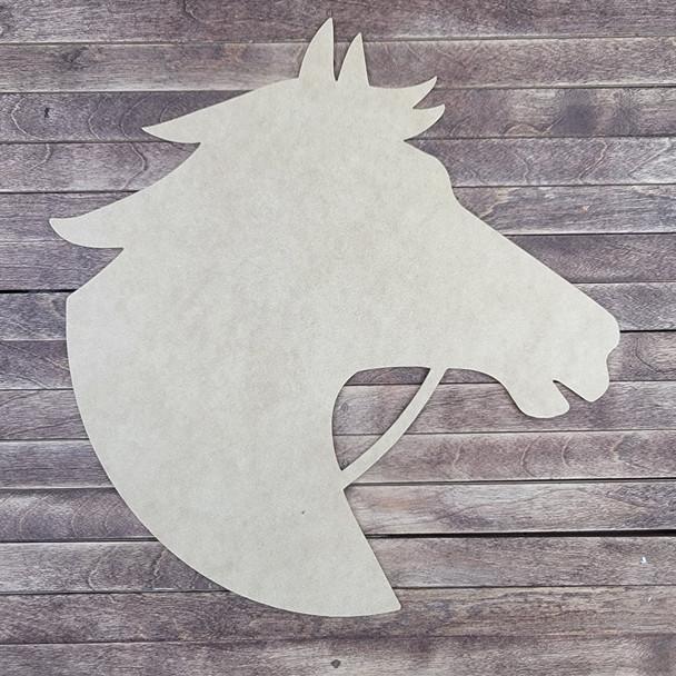 Horse Head Design, Animal Shape Unfinished Cutout, Paintable MDF Craft