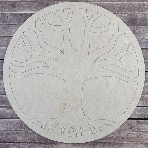 Circle With Tree Design, Paint by Line, Wood Craft Cutout