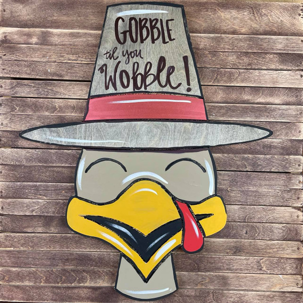 Thanksgiving Turkey With Hat , Paint by Line, Unfinished Large Pine Yard Display Art, Photo Prop