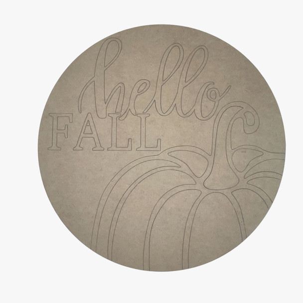 Hello Fall Circle, Unfinished Wood Cutout, Paint by Line