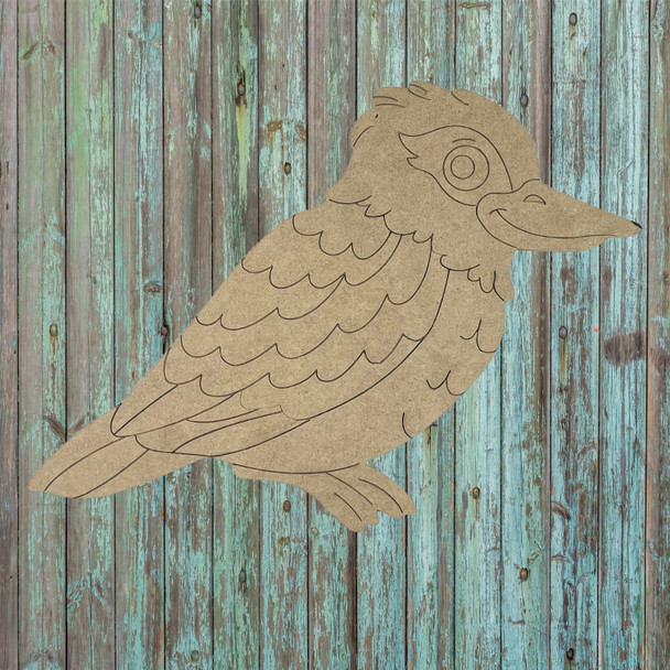 Ruffled Feathers Bird, Unfinished Wood Cutout, Paint by Line