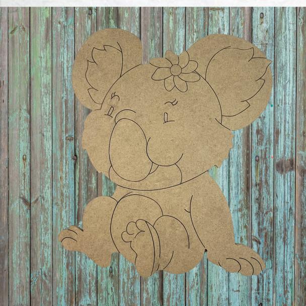 Koala Bear, Unfinished Wood Cutout, Paint by Line