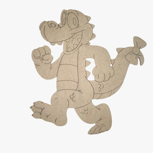 Marching Alligator, Unfinished Wood Cutout, Paint by Line