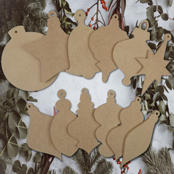 12 Piece Wooden DIY Christmas Ornament Collection