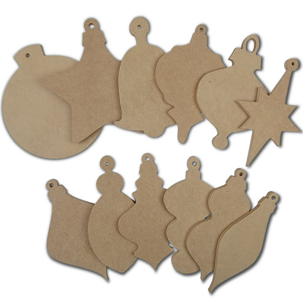 12 Piece Wooden DIY Christmas Ornament Collection White Background