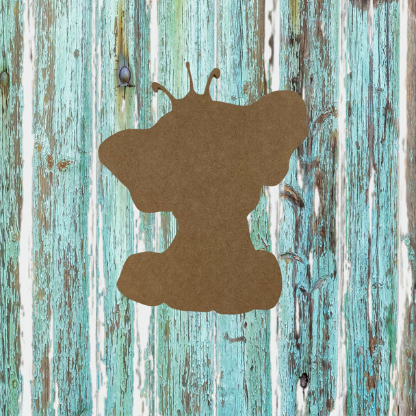 Elephant with Crown, Unfinished Wood Cutout