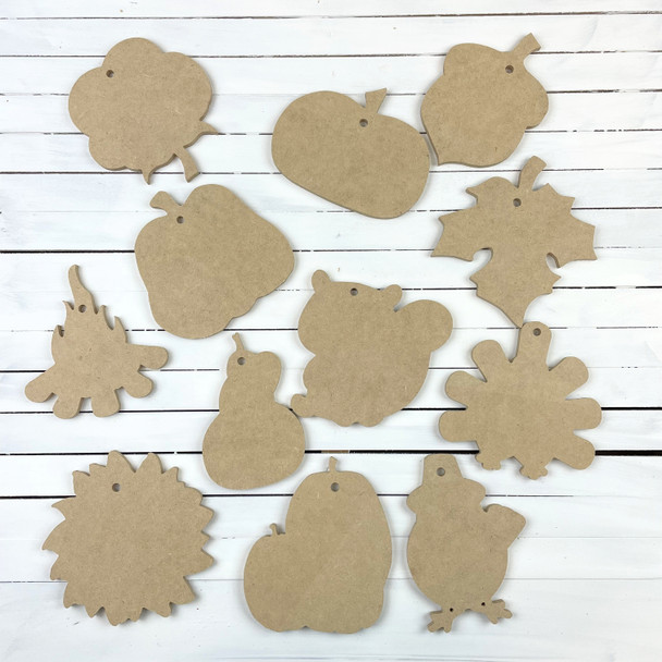 Fall Ornament Shapes Sampler Set, 12 Piece Wooden DIY Fall Shapes Ornament Collection