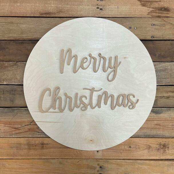 """Merry Christmas, Unfinished 18"""" Pine Circle Sign Kit"""