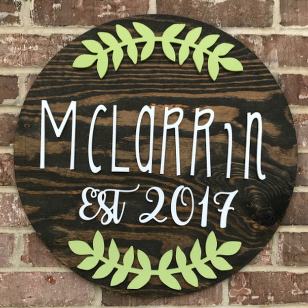 """Personalized Surname & Est. with laurels, Unfinished 22"""" Pine Circle Sign Kit"""