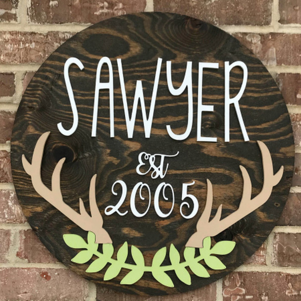 """Personalized Surname & Est. with antler & laurels, Unfinished 22"""" Pine Circle Sign Kit"""