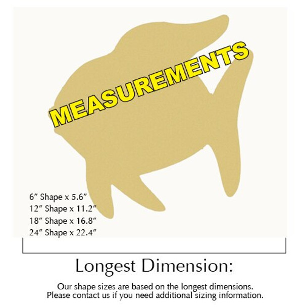 Angel Fish Unfinished Cutout measurements