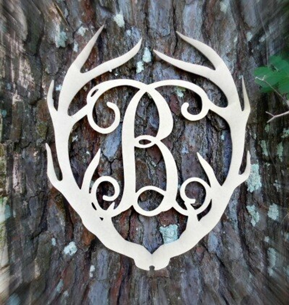 Antler Monogram Framed Letter Wooden Unfinished Craft-B