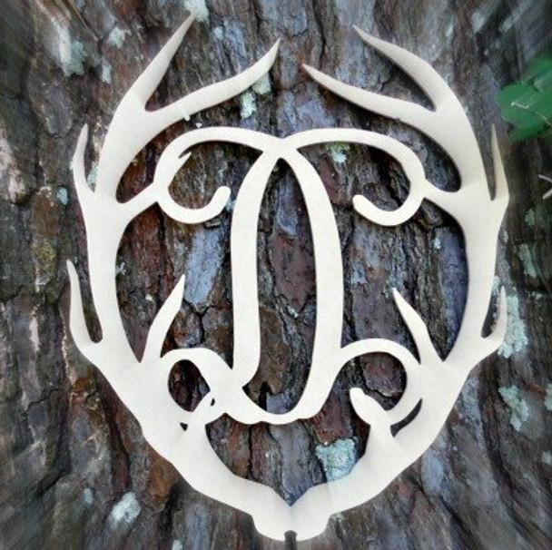 Antler Monogram Framed Letter Wooden Unfinished Craft-D