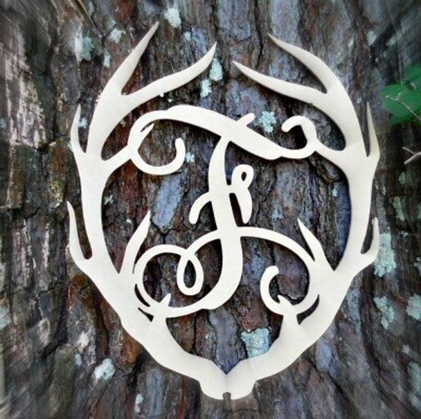 Antler Monogram Framed Letter Wooden Unfinished Craft-F