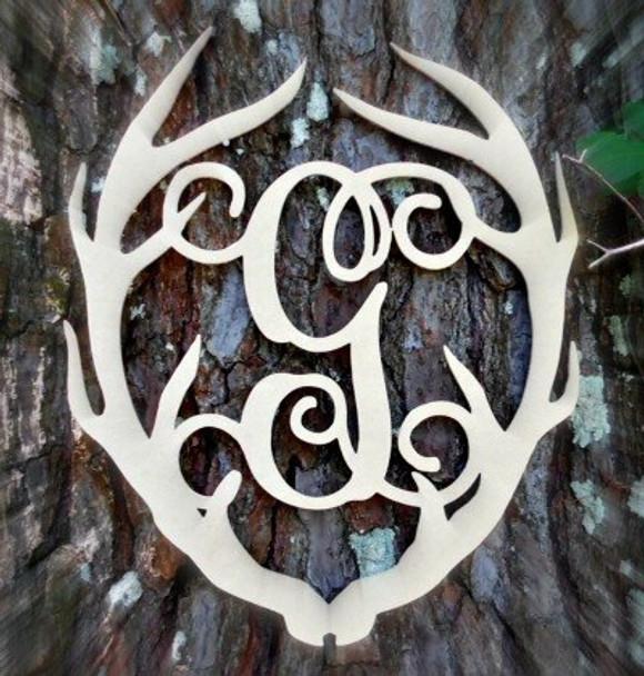 Antler Monogram Framed Letter Wooden Unfinished Craft-G