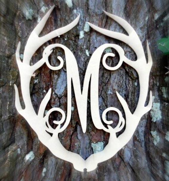 Antler Monogram Framed Letter Wooden Unfinished Craft-M