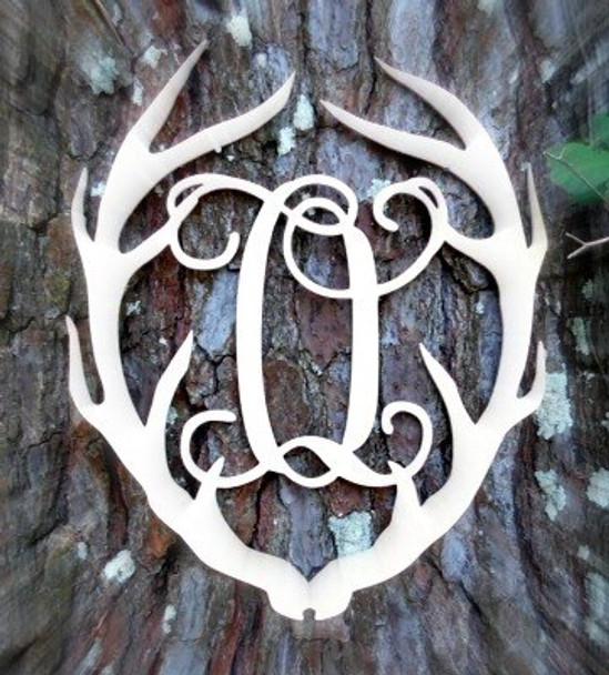 Antler Monogram Framed Letter Wooden Unfinished Craft-O