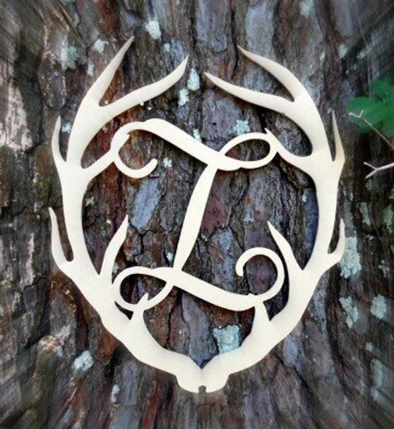 Antler Monogram Framed Letter Wooden Unfinished Craft-Z