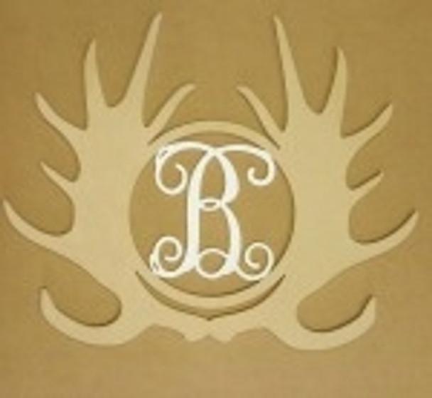 Antler Monogram Moose Insert Wooden Unfinished DIY Craft