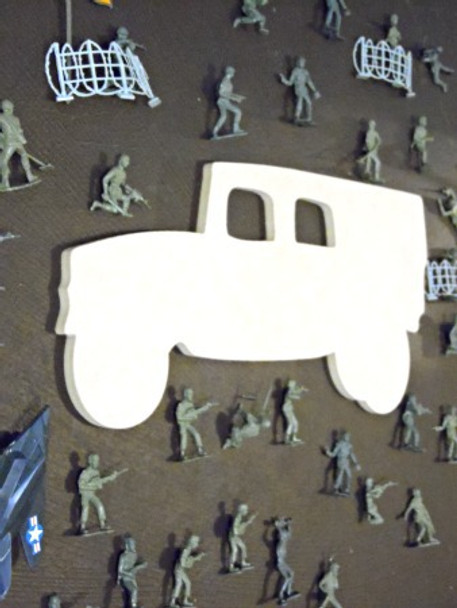 Army Hummer Unfinished Cutout, Wooden Shape, Paintable MDF  Craft
