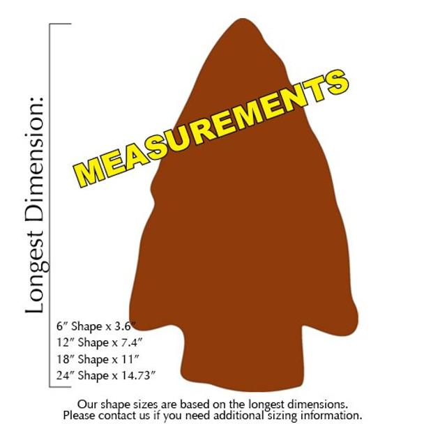 Arrow Head Unfinished Cutout measurements