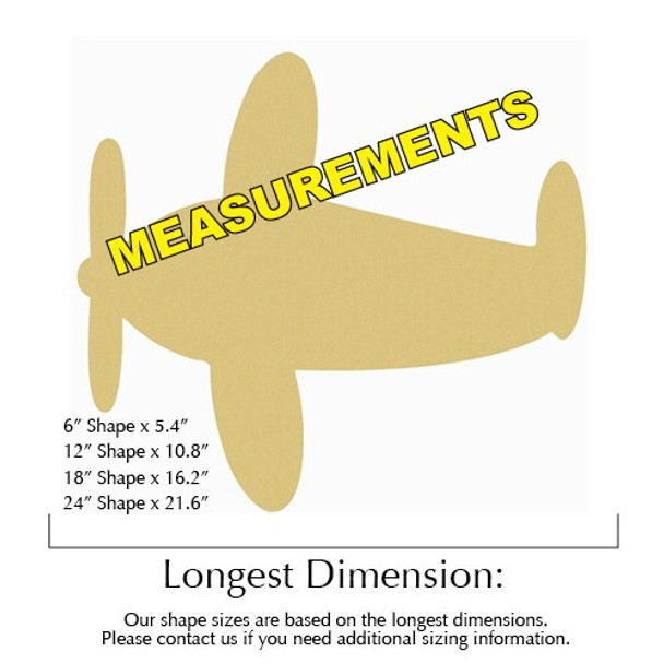 Airplane Unfinished Cutout measurements