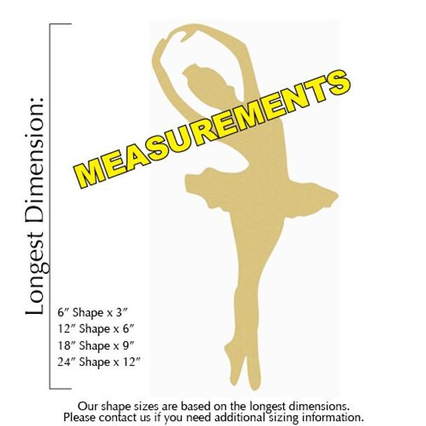 Ballerina Unfinished Cutout measurements