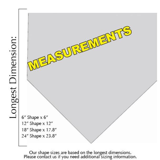 Baseball Home Plate Unfinished Cutout measurements